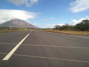 Driving over the airport runway